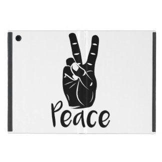 """Icon hand peace sign with text """"PEACE"""" Covers For iPad Mini"""