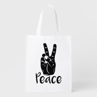 """Icon hand peace sign with text """"PEACE"""" Grocery Bags"""