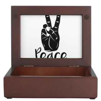 """Icon hand peace sign with text """"PEACE"""" Keepsake Box"""