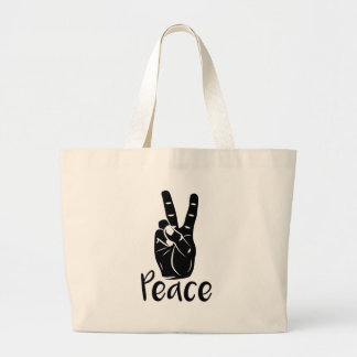 "Icon hand peace sign with text ""PEACE"" Large Tote Bag"
