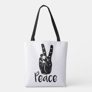 """Icon hand peace sign with text """"PEACE"""" Tote Bag"""