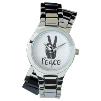 "Icon hand peace sign with text ""PEACE"" Watch"