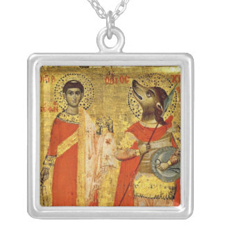 Icon of Saint Stephen with Soldier Silver Plated Necklace