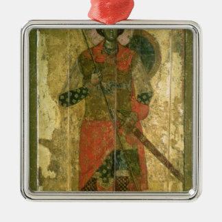 Icon of St. George, 1130-50 Silver-Colored Square Ornament