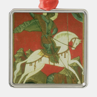 Icon of St. George and the Dragon Silver-Colored Square Ornament