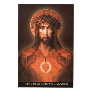 ICON OF THE SACRED HEART OF JESUS  FOR YOUR VENERA WOOD PRINT