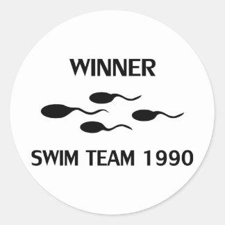 icône 1990 d'équipe de natation de gagnant sticker rond
