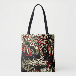 Iconic Abstract Tiger Alloverprint Tote