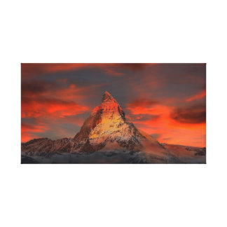 Iconic Alpine Mountain Matterhorn at Sunset Canvas Print