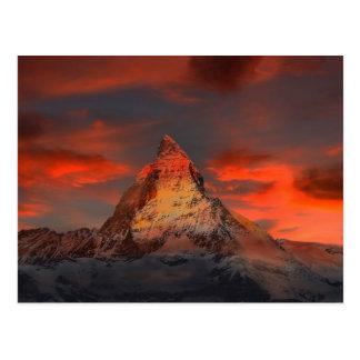 Iconic Alpine Mountain Matterhorn at Sunset Postcard