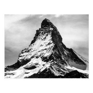 Iconic Alpine Mountain Matterhorn Black and White Postcard