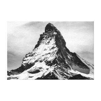 Iconic Alpine Mountain Matterhorn in Black and Whi Canvas Print
