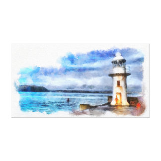 Iconic Brixham England Lighthouse and Breakwater Canvas Print