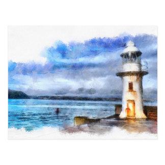 Iconic Brixham England Lighthouse and Breakwater Postcard
