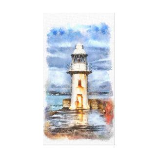 Iconic Brixham Lighthouse Watercolor Canvas Print
