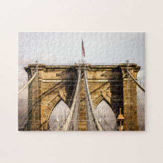 Iconic Brooklyn Bridge with Flag Jigsaw Puzzle