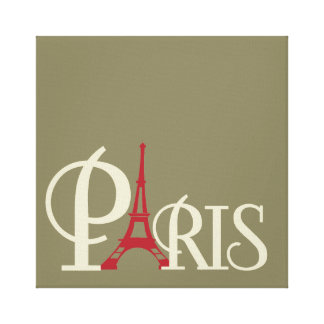 Iconic Eiffel Tower in Red Paris France Canvas Print
