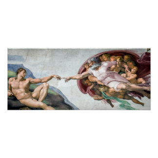 Iconic Michelangelo Creation of Adam Poster