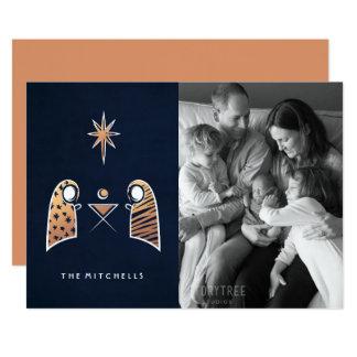 "Iconic Nativity Scene Navy Christmas Photo Card 5"" X 7"" Invitation Card"
