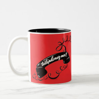 Iconic Phone Graphic Bold Red French Call Me Two-Tone Coffee Mug