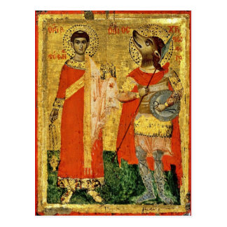 Iconic Saint Christopher with Soldier Postcard