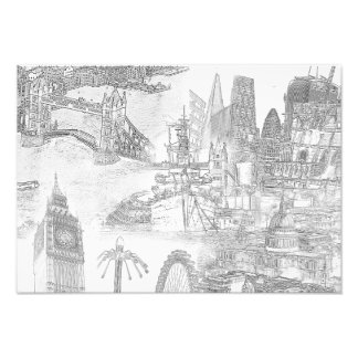 Icons of London - Digital Art Line Drawing Print
