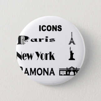 Icons-Paris-NewYork-Ramona 2 Inch Round Button