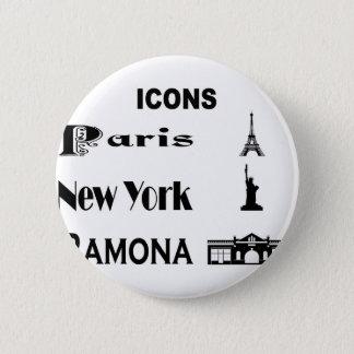 Icons-Paris-NewYork-Ramona 2 Inch Round Button
