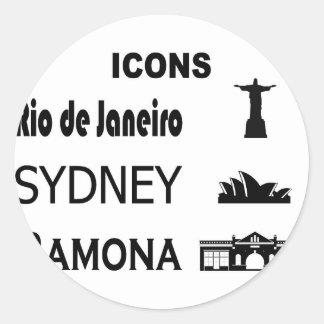 Icons-Rio-Sidney Classic Round Sticker