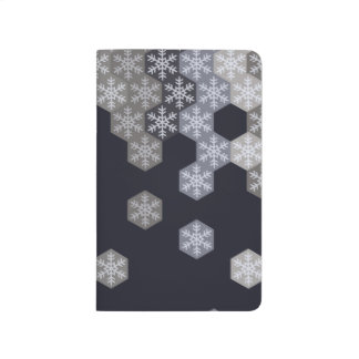 Icy Blue And Gray Winter Snowflake Hexagons Journal