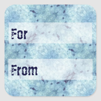 Icy Blue Batik Style Gift Tag Square Sticker