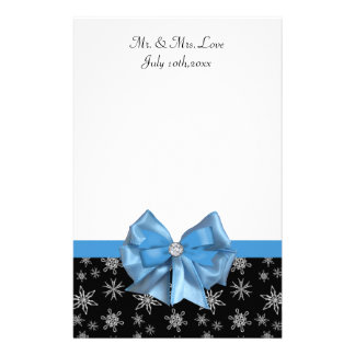 Icy Blue Bow On Black Winter Snowflakes Wedding Stationery