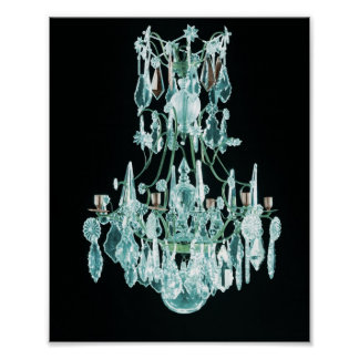 Icy Blue Chandelier Poster
