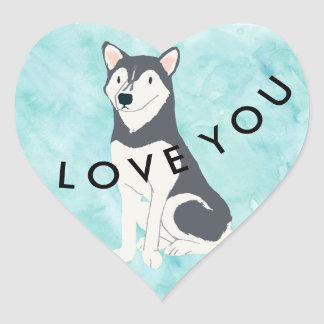 Icy Blue Husky Love You Heart Sticker