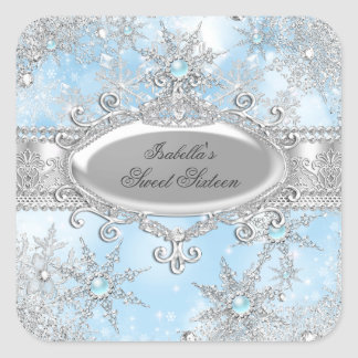 Icy Blue Princess Winter Wonderland Sweet 16 AB Square Sticker