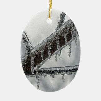Icy Branch Ceramic Ornament