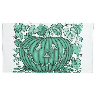 Icy-Green Spidery Pumpkin Pillowcase
