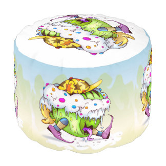 ICY JUICY CARTOON Sturdy Spun Polyester Round Pouf