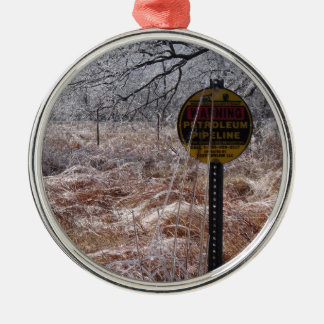 Icy Petroleum Pipeline Warning Silver-Colored Round Ornament