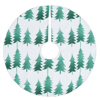 Icy Pine Tree Brushed Polyester Tree Skirt