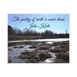 Icy Pond w/Quote by John Keats Canvas Print