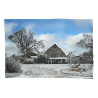 Icy Rustic Barn in Winter Pillow Case Pillowcase