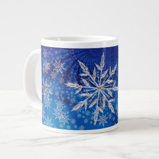 Icy Snowflakes on Blue Large Coffee Mug
