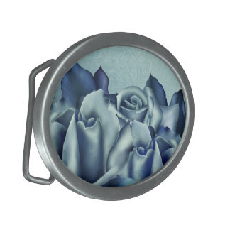 Icy Teal & Blue Winter Roses Oval Belt Buckle
