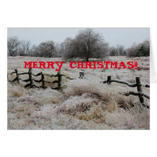 Icy Wooden Fence in a Pasture Greeting Card