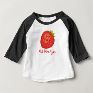 """I'd Pick You!"" Strawberry 3/4 Sleeve Baby Tee"