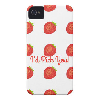 """""""I'd Pick You!"""" Strawberry IPhone4 Barely There Case-Mate iPhone 4 Case"""