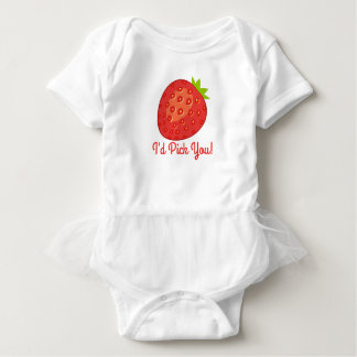 """I'd Pick You!"" Strawberry Short-Sleeved Tutu-Vest Baby Bodysuit"