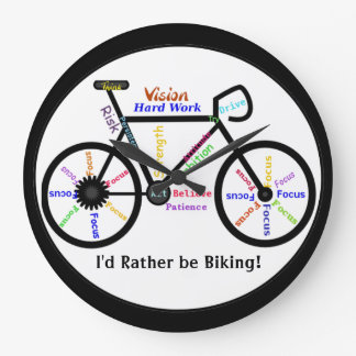 I'd Rather be Biking, Bikes with Motivational Word Large Clock