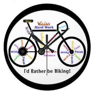 I'd Rather be Biking, Bikes with Motivational Word Wallclock
